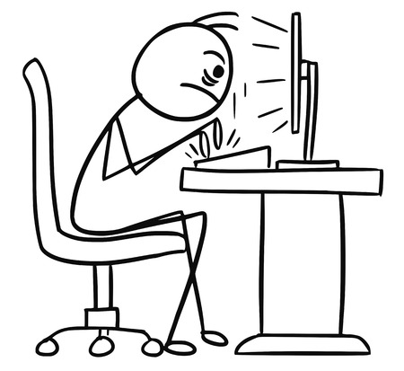 Cartoon vector doodle stickman sitting in front of the computer and writing fast. Stock Vector - 73620085