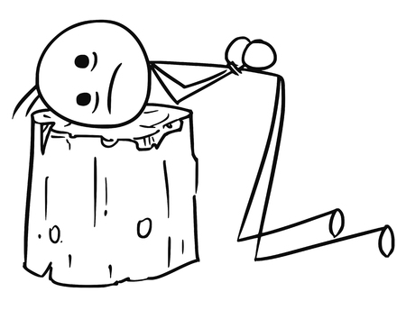 Cartoon vector stick man men sentenced to death with head placed on wooden execution block Illustration