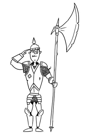 Cartoon old fantasy medieval knight royal guard soldier with armor and halberd axe