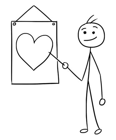 Cartoon vector stick man men is holding a pointer and pointing at heart symbol on the wall sign
