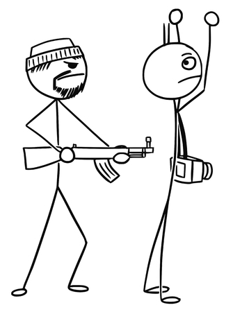 kidnapped: Cartoon vector stickman tourist with camera is kidnapped or attacked by AK gunmen and holding hands up Illustration