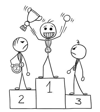Cartoon stickman three males standing on the winners podium rostrum, winner is enjoying and celebrating, losers are watching him in anger