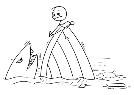 ship wreck: Cartoon vector stickman man holding on the ship wreck trying to stay far from the shark