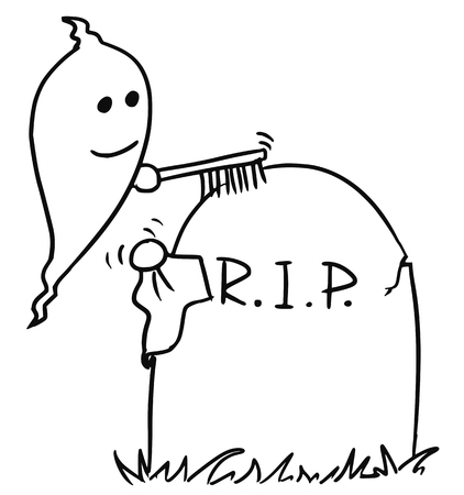 Cartoon vector small ghost is cleaning up the tombstone with brush and cloth