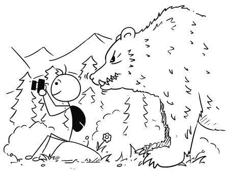 Cartoon vector stickman tourist is sitting on the rock taking a picture with camera in mountain while large huge bear stand behind him.