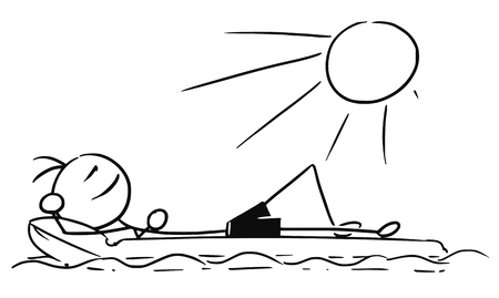 Cartoon vector stickman smiling enjoying sailing a airbed air mattress on summer vacation holiday Vectores