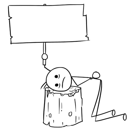 sentenced: Cartoon vector stick man men sentenced to death with head placed on wooden execution block and holding empty sign