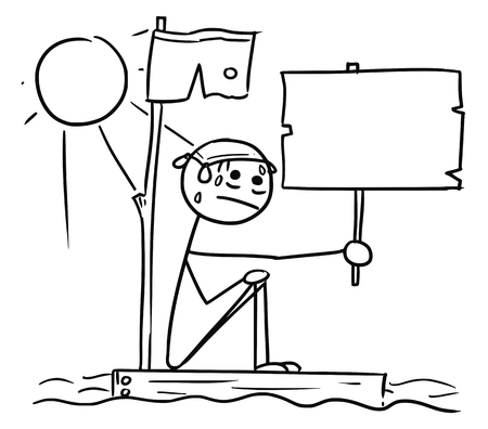 Cartoon vector stickman man lost with empty sign sitting naked on the piece of wood raft from the ship wreck in the center of the ocean with Sun shining Illustration