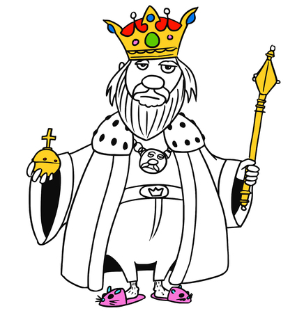 scepter: Cartoon vector old fantasy medieval king monarch sovereign with crown apple and scepter Illustration