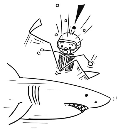 dead fish: Cartoon vector stickman scuba diver meet large dangerous shark unexpectedly