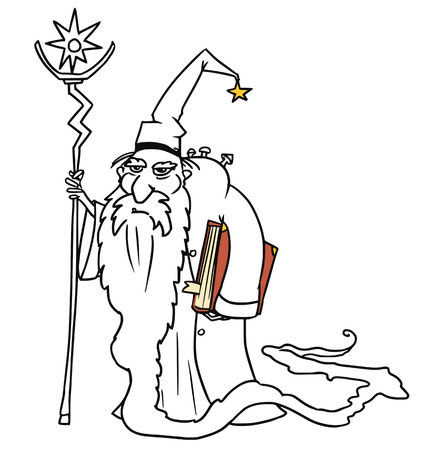 Cartoon vector old fantasy medieval wizard sorcerer or royal adviser with book, staff and full-beard