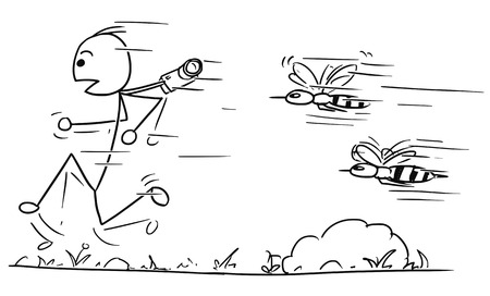 Cartoon vector stickman male tourist is hunted by two large giant angry wasps or bees.