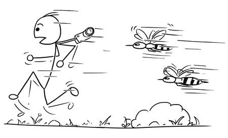 Le touriste mâle stickman de vecteur de dessin animé est chassé par deux grandes guêpes ou abeilles géantes en colère.