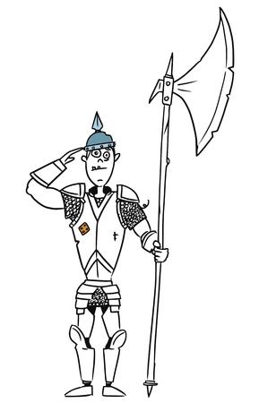 halberd: Cartoon vector old fantasy medieval knight royal guard soldier with armor and halberd axe