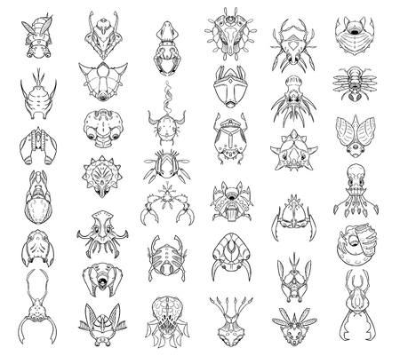 Large Set of 37 hand drawn cartoon monsters and creatures in top down view Illustration