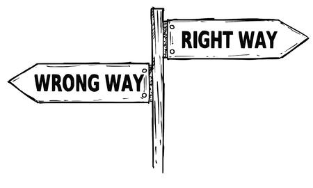 Caricature de vecteur doodle signe de direction en bois carrefour dessiné avec deux flèches pointant à gauche et à droite comme guide de décision droit ou mauvais Vecteurs
