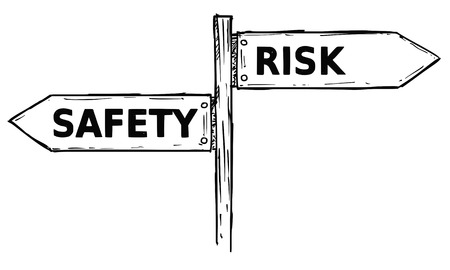 Vector cartoon doodle hand drawn crossroad wooden direction sign with two arrows pointing  left and right as safety or risk decision guide.