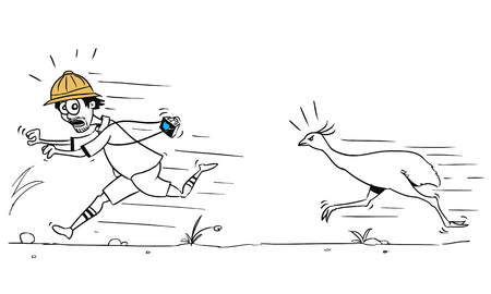 pursuing: Cartoon vector male tourist is running away from large ostrich bird pursuing him