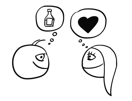 to contemplate: Cartoon vector illustration of love and relationship