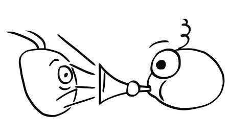 Cartoon vector of man playing horn vuvuzela sound against another man.