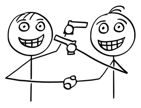 hypocritical: Cartoon vector of two men politicians businessmen smiling and shaking their hands and pointing guns at each other in same time.