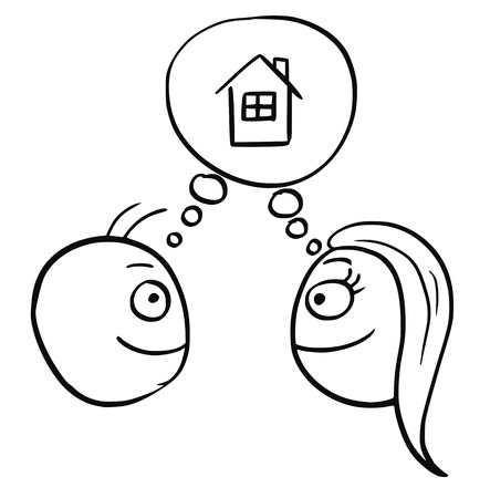 build in: Cartoon vector of man and woman planning together to live in, build, buy or rent a family house