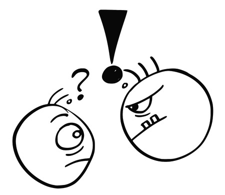 Cartoon vector of small man with question mark above his head threated endangered by big strong man with exclamation mark above his head. Illustration