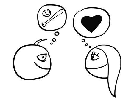 漫画野球ソフトボール ボールとバットとの心が愛との関係のシンボルを考える男女の差のベクトル
