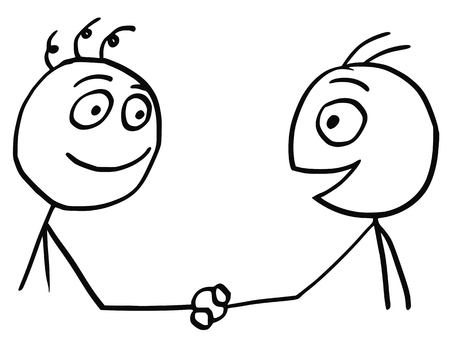 Cartoon vector of two friendly men shaking their hands. Stock Illustratie
