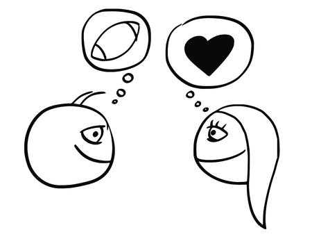 漫画サッカー ラグビー ボールと心の愛との関係のシンボルを考える男女の差のベクトル