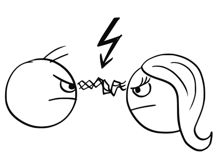 bolt: Cartoon vector of man and woman in quarrel fight with flash between their eyes and lightning bold symbol above their heads Illustration