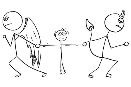 Beeldverhaalvector van engel en duivel die het worstelen voor de man vechten