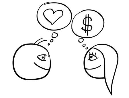 男と女の関係 - お金ドル記号と愛のハートマークを考えての違いの漫画のベクトル  イラスト・ベクター素材