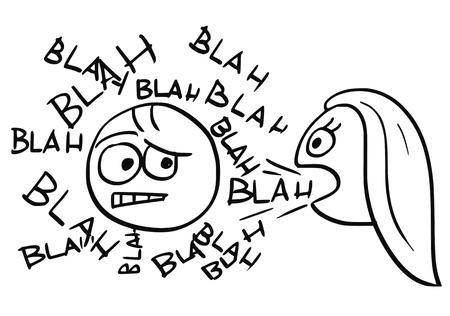 Vettore del fumetto dell'uomo malato circondato da parole blah provenienti dalla bocca della donna che parla Archivio Fotografico - 80491758