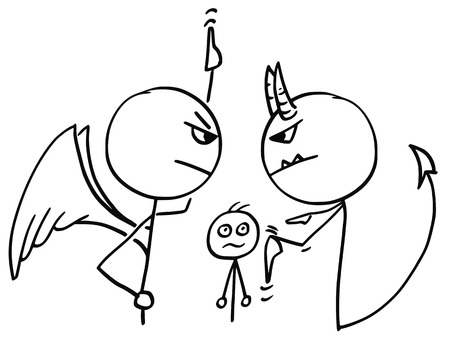 Cartoon vector of angel and devil fighting arguing disputing about the man in background and pointing up and down at heaven and hell Illustration