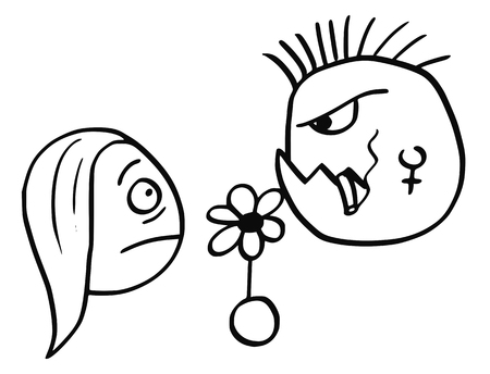 pandilleros: Cartoon vector of young woman surprised on date with ugly dangerous punk mohawk hairstyle man with flower and cigar.