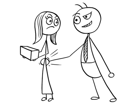 Cartoon vector of male boss slapping smacking bottom of female subordinate worker , sexual harassment