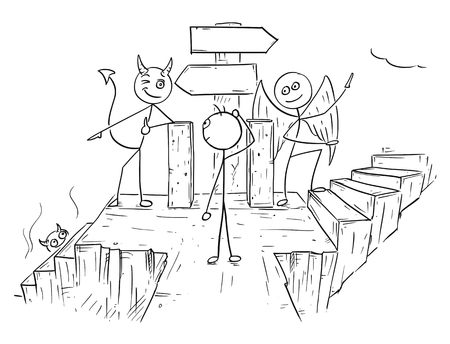 purgatory: Cartoon vector of angel and devil standing on crossroad with two empty arrow signs and showing a man two ways to decide between hell and heaven