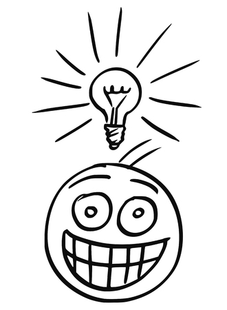 Cartoon vector of man with shining light bulb above his head and with great happy smile. Man just got great idea.