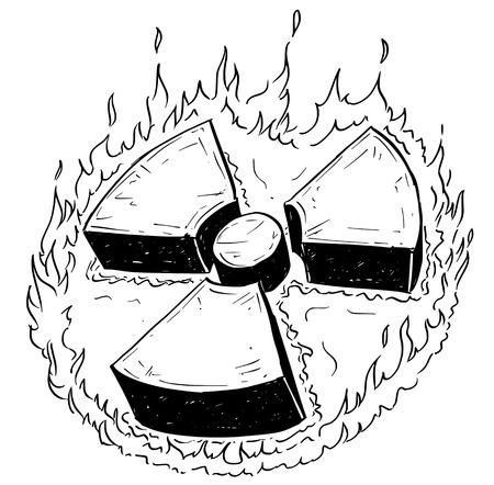 radium: Vector doodle hand drawing illustration of nuclear radiation symbol. Illustration