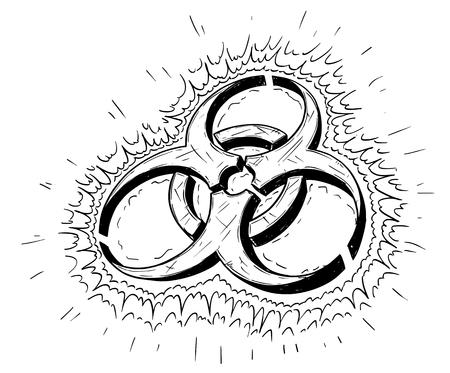 Vector cartoon drawing illustration of biohazard symbol Stock Vector - 80906937