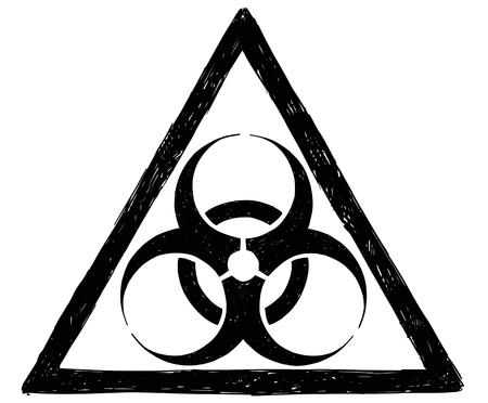 Ilustración de dibujo vectorial de signo de símbolo de riesgo biológico