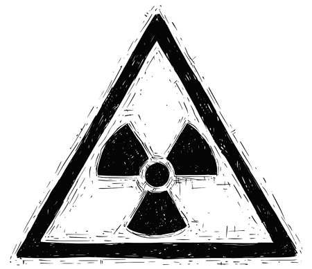 Vector doodle hand drawing illustration of nuclear radiation symbol. Illustration
