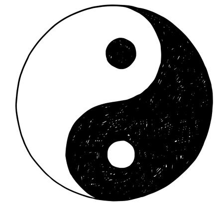 Hand drawn vector doodle illustration of yin yang jin jang symbol.
