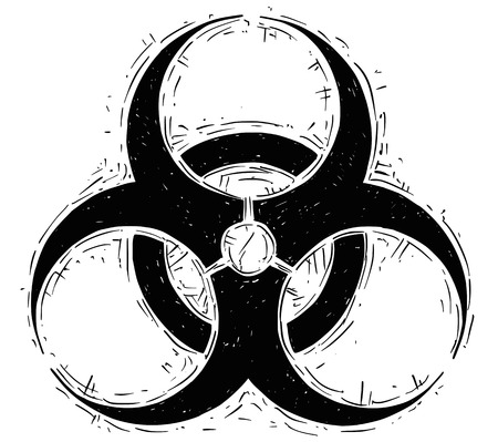 Vector drawing illustration of biohazard symbol