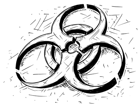 contamination: Vector cartoon drawing illustration of biohazard symbol