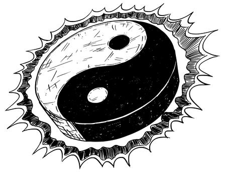 陰陽の描画ベクトル落書きイラストを手仁チャンのシンボル。