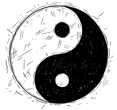 taoist: Hand drawn vector doodle illustration of yin yang jin jang symbol.