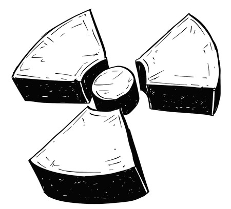 dangerous weapons: Vector doodle hand drawing illustration of nuclear radiation symbol. Illustration