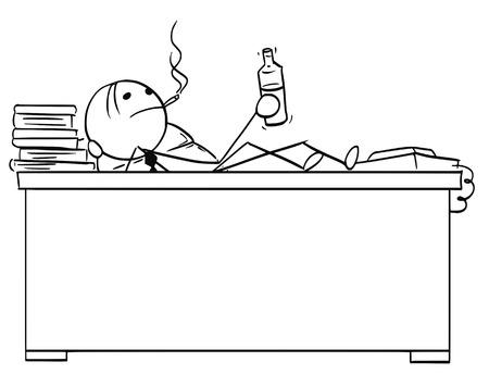 Stickman tekening van de stok van de beeldverhaal vectorstok van zakenman chef- beambtezitting achter zijn bureau met benen op de lijst, rokende sigaar en met fles in zijn hand.